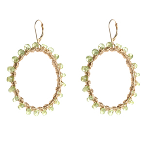 Peridot Wire Wrap Earrings