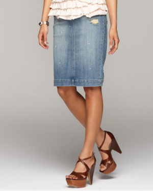Coquette: Knee-Length Denim Skirts