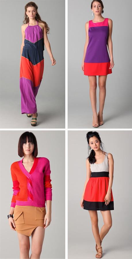 colorblock dresses pink red purple