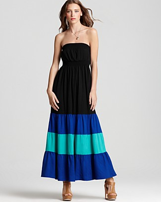 Aqua-Colorblock-Blue-Straplessdress