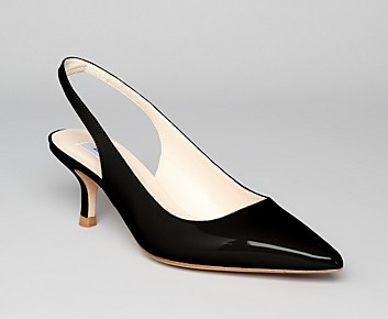 Black Kitten Heel Slingbacks