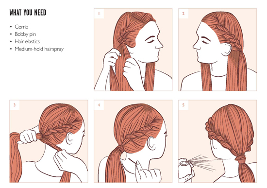 Twisted-Ponytail-Illustration-Steps