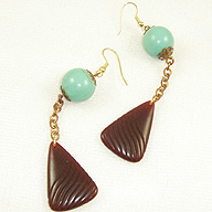 Aqua And Brown Earrings