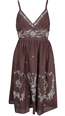 F21 Brownembroiderdress
